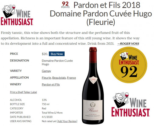Fleurie 2018 Cuvée Hugo 92 points Wine Enthusiast !